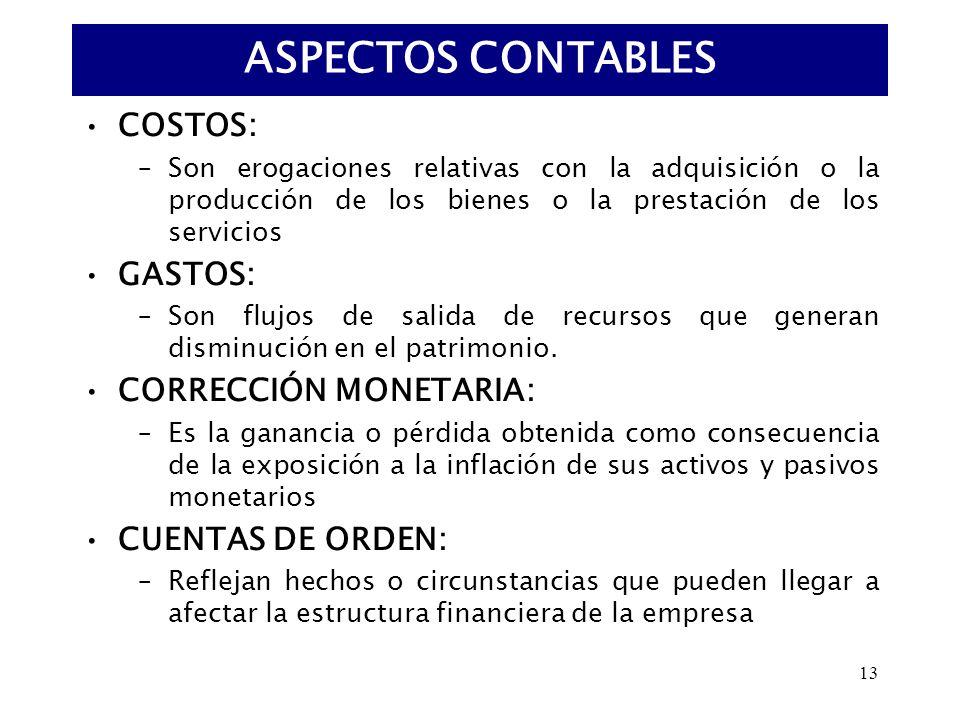 13 COSTOS: –Son erogaciones relativas con la adquisición o la producción de los bienes o la prestación de los servicios GASTOS: –Son flujos de salida