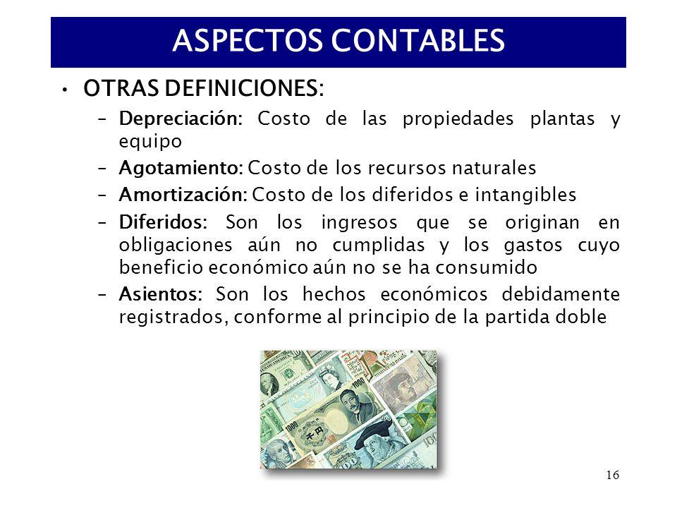 16 OTRAS DEFINICIONES: –Depreciación: Costo de las propiedades plantas y equipo –Agotamiento: Costo de los recursos naturales –Amortización: Costo de