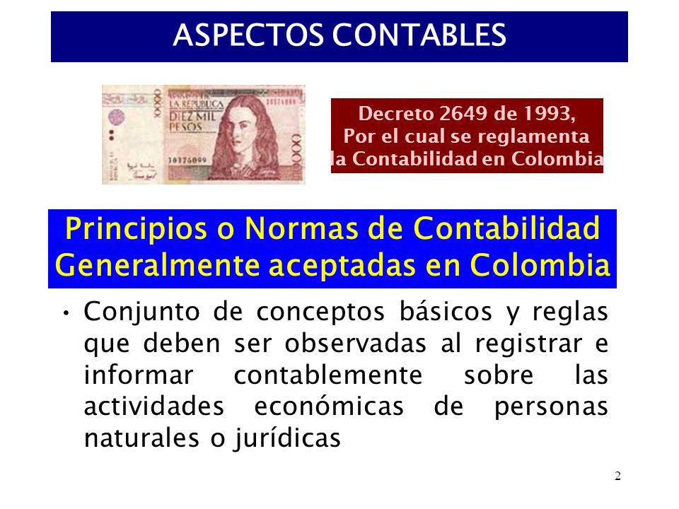 2 ASPECTOS CONTABLES Conjunto de conceptos básicos y reglas que deben ser observadas al registrar e informar contablemente sobre las actividades econó