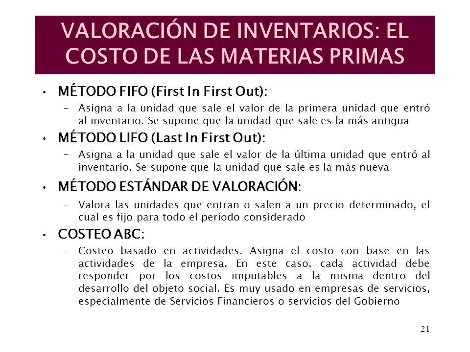 21 VALORACIÓN DE INVENTARIOS: EL COSTO DE LAS MATERIAS PRIMAS MÉTODO FIFO (First In First Out): –Asigna a la unidad que sale el valor de la primera un