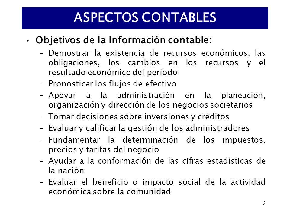 3 Objetivos de la Información contable: –Demostrar la existencia de recursos económicos, las obligaciones, los cambios en los recursos y el resultado