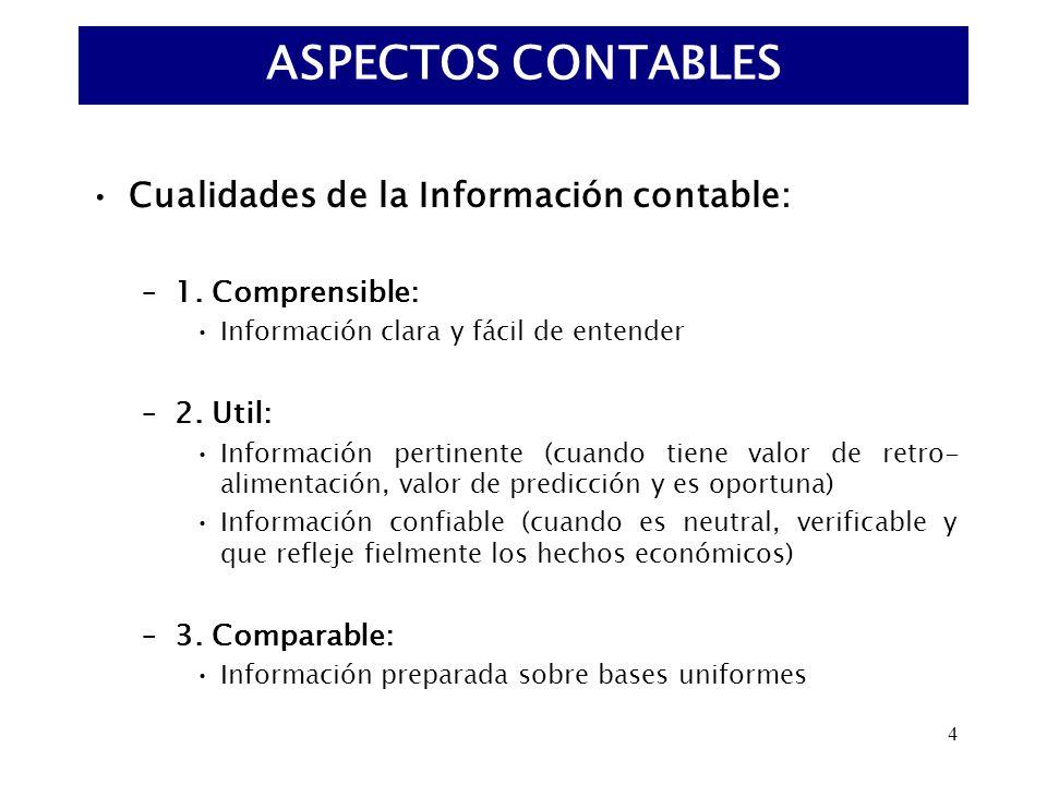 4 Cualidades de la Información contable: –1. Comprensible: Información clara y fácil de entender –2. Util: Información pertinente (cuando tiene valor