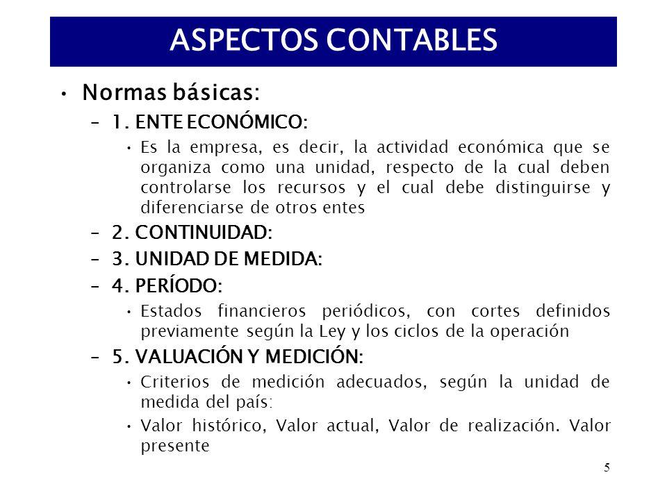 5 Normas básicas: –1. ENTE ECONÓMICO: Es la empresa, es decir, la actividad económica que se organiza como una unidad, respecto de la cual deben contr