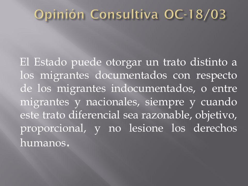 El Estado puede otorgar un trato distinto a los migrantes documentados con respecto de los migrantes indocumentados, o entre migrantes y nacionales, s