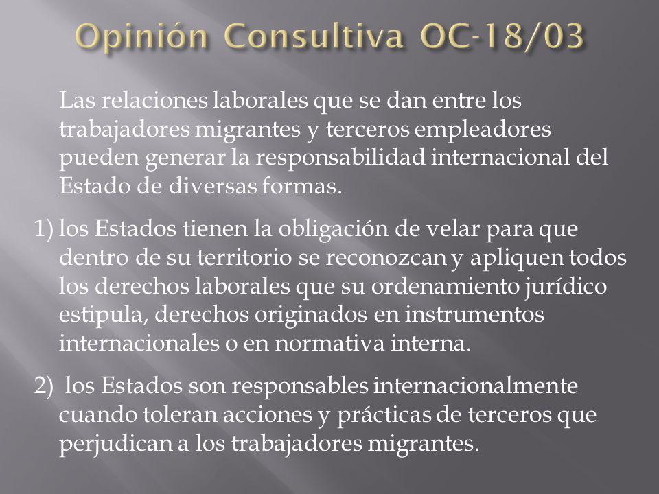 Las relaciones laborales que se dan entre los trabajadores migrantes y terceros empleadores pueden generar la responsabilidad internacional del Estado de diversas formas.