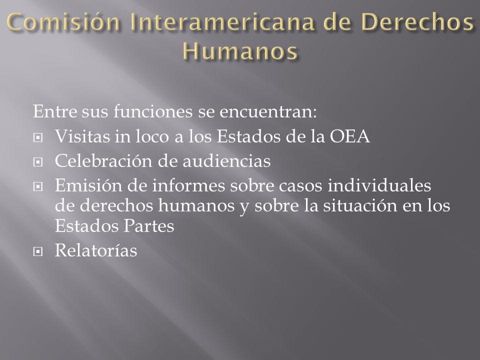 Entre sus funciones se encuentran: Visitas in loco a los Estados de la OEA Celebración de audiencias Emisión de informes sobre casos individuales de d