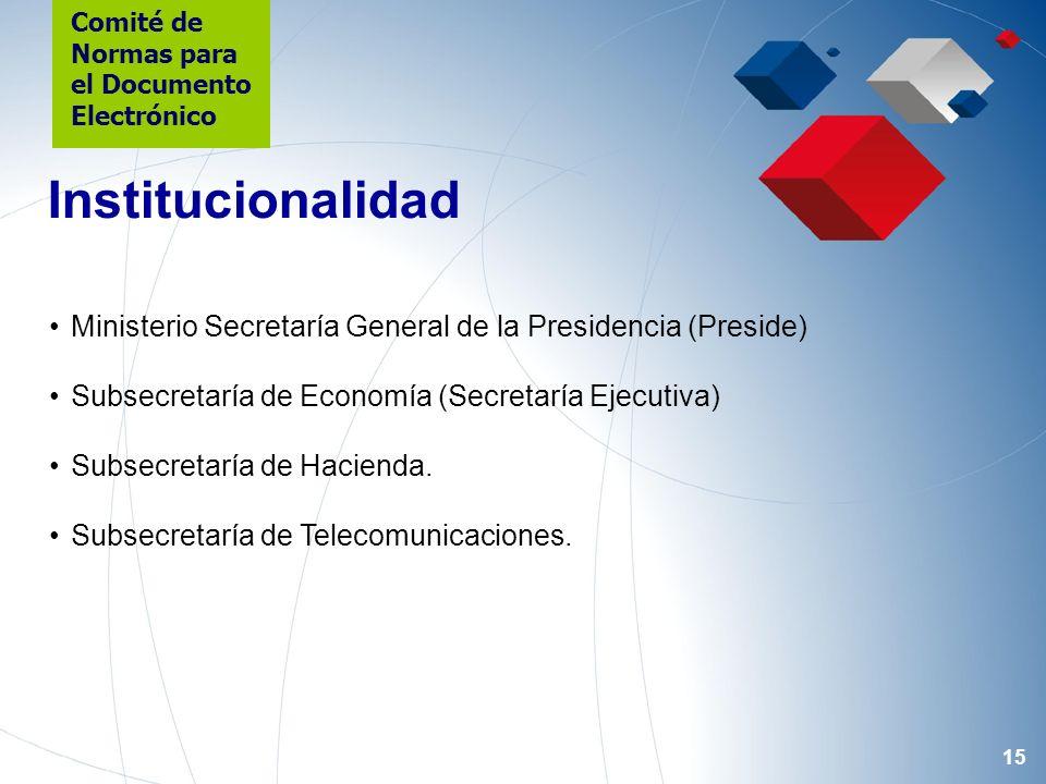15 Ministerio Secretaría General de la Presidencia (Preside) Subsecretaría de Economía (Secretaría Ejecutiva) Subsecretaría de Hacienda. Subsecretaría