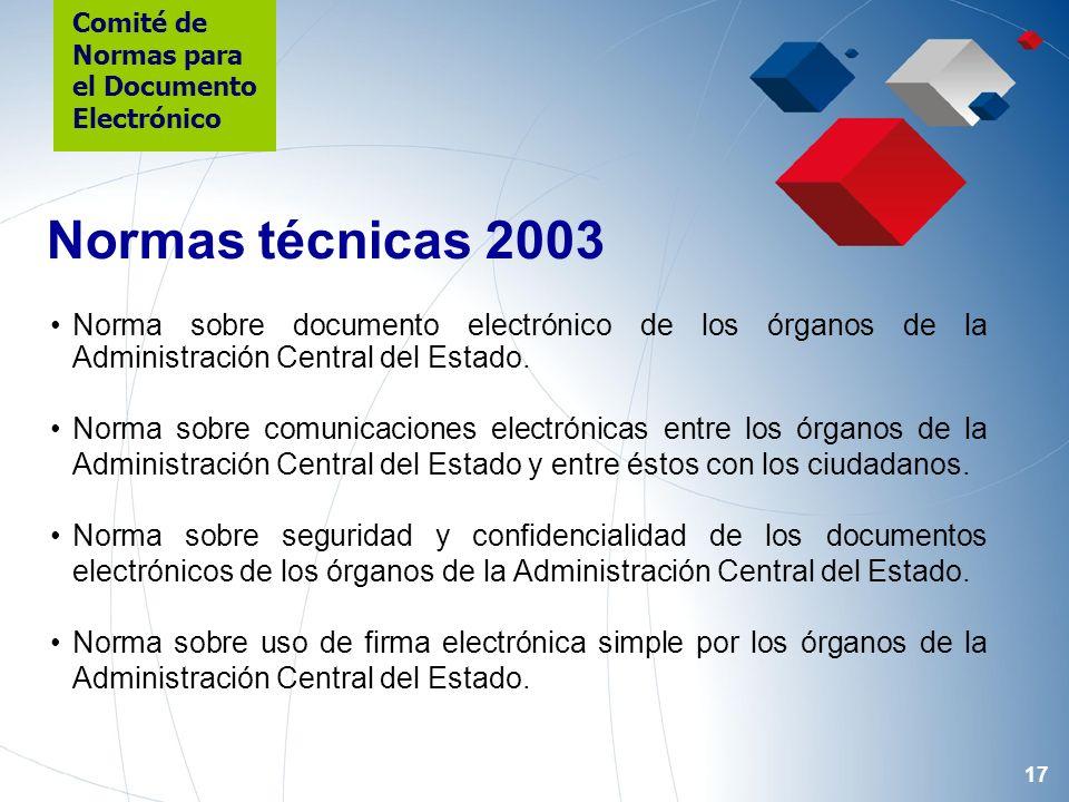 17 Norma sobre documento electrónico de los órganos de la Administración Central del Estado.