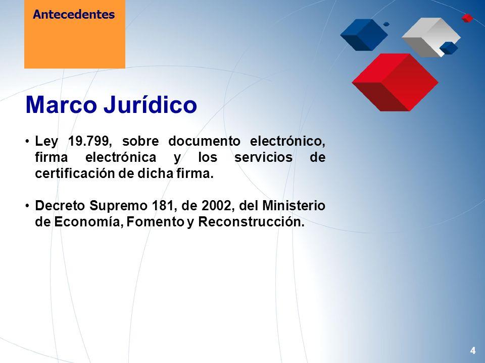 4 Marco Jurídico Ley 19.799, sobre documento electrónico, firma electrónica y los servicios de certificación de dicha firma.