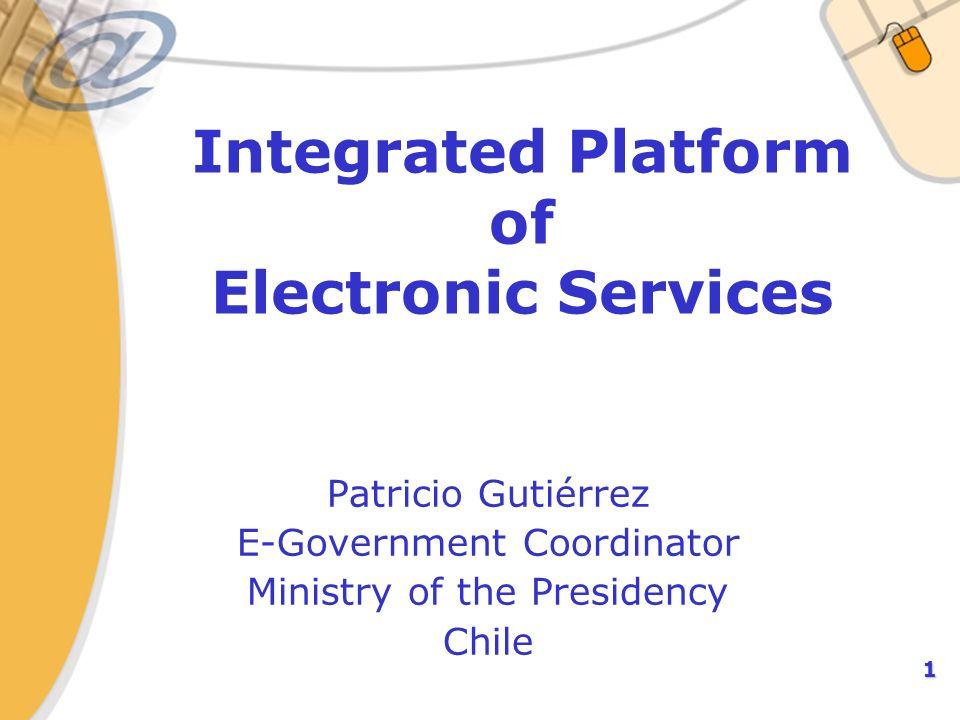 2 Contexto Iniciativa 11 de la Agenda Digital Se implementará el despegue de una Plataforma Integrada de Servicios Electrónicos, orientada a la interoperabilidad entre los servicios públicos, con el propósito de hacer factible el cumplimiento de la Ley de Bases de Procedimiento Administrativo.