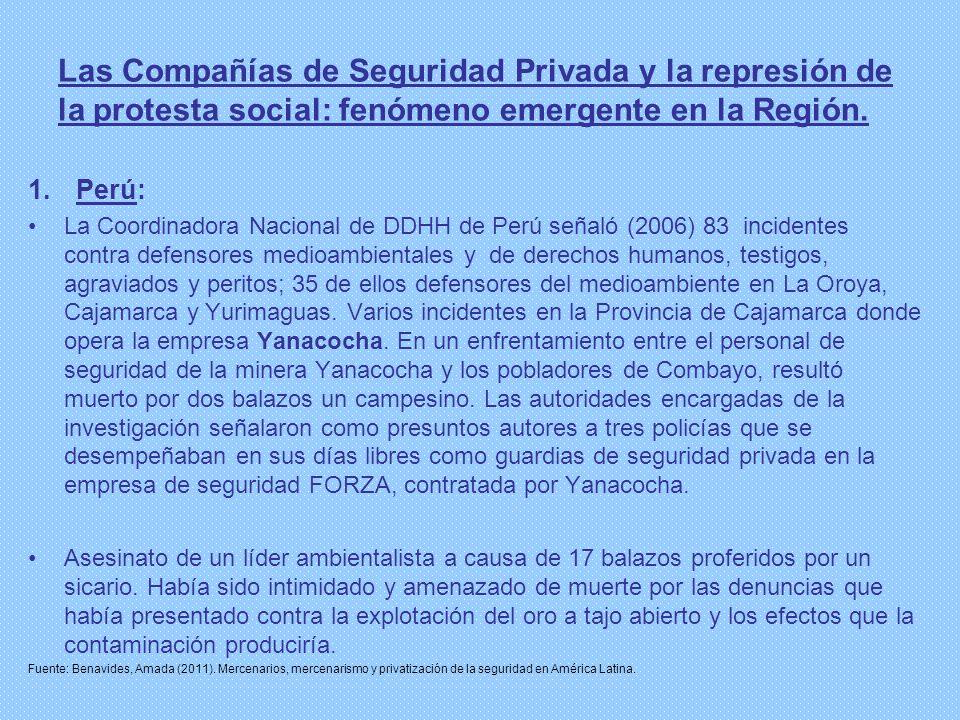 Las Compañías de Seguridad Privada y la represión de la protesta social: fenómeno emergente en la Región. 1.Perú: La Coordinadora Nacional de DDHH de