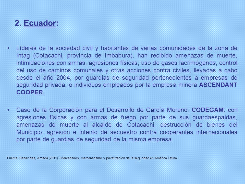 2. Ecuador: Líderes de la sociedad civil y habitantes de varias comunidades de la zona de Intag (Cotacachi, provincia de Imbabura), han recibido amena