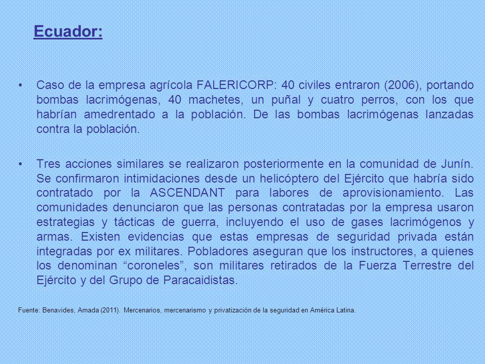 Ecuador: Caso de la empresa agrícola FALERICORP: 40 civiles entraron (2006), portando bombas lacrimógenas, 40 machetes, un puñal y cuatro perros, con