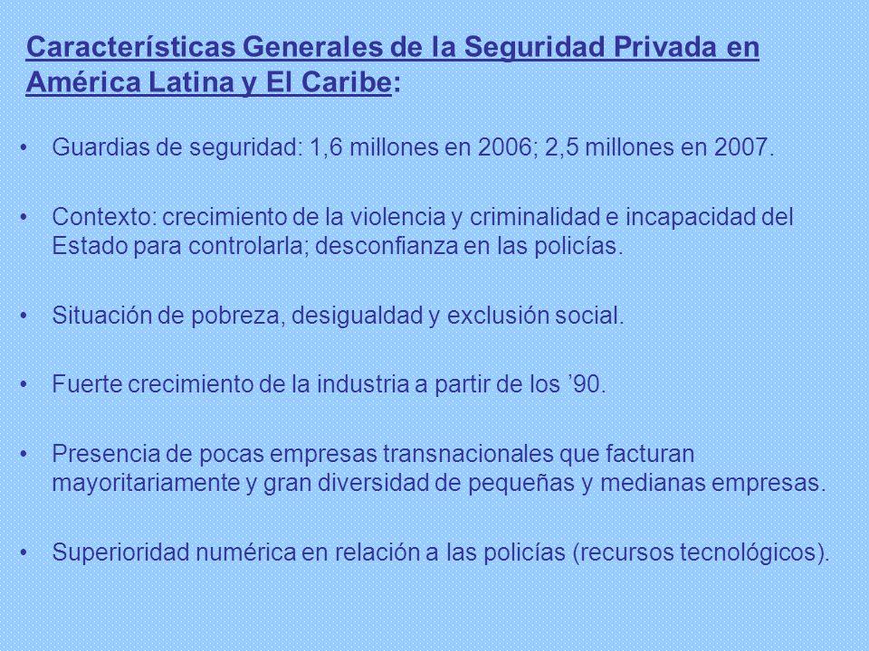 Características Generales de la Seguridad Privada en América Latina y El Caribe: Guardias de seguridad: 1,6 millones en 2006; 2,5 millones en 2007. Co