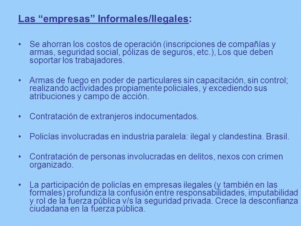 Las empresas Informales/Ilegales: Se ahorran los costos de operación (inscripciones de compañías y armas, seguridad social, pólizas de seguros, etc.),