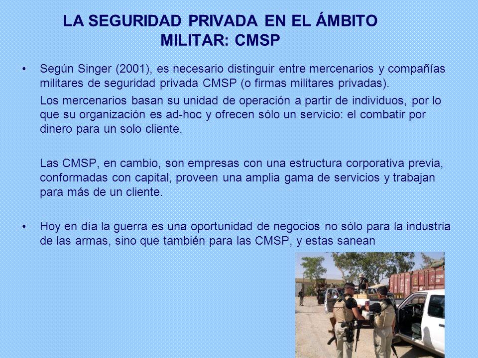 Según Singer (2001), es necesario distinguir entre mercenarios y compañías militares de seguridad privada CMSP (o firmas militares privadas). Los merc