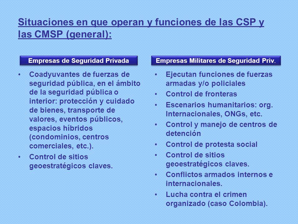 Situaciones en que operan y funciones de las CSP y las CMSP (general): Coadyuvantes de fuerzas de seguridad pública, en el ámbito de la seguridad públ