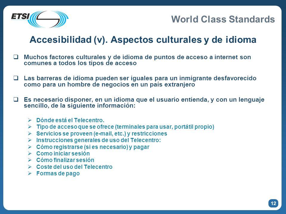 World Class Standards Accesibilidad (v). Aspectos culturales y de idioma Muchos factores culturales y de idioma de puntos de acceso a internet son com
