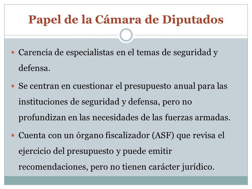 Papel de la Cámara de Diputados Carencia de especialistas en el temas de seguridad y defensa.