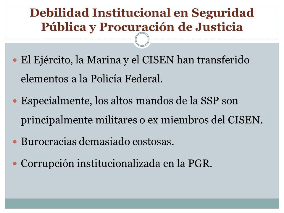 Debilidad Institucional en Seguridad Pública y Procuración de Justicia El Ejército, la Marina y el CISEN han transferido elementos a la Policía Federal.