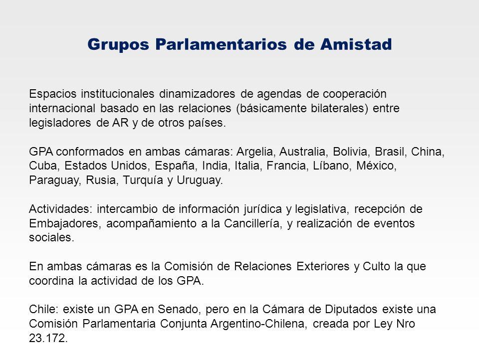 Grupos Parlamentarios de Amistad Espacios institucionales dinamizadores de agendas de cooperación internacional basado en las relaciones (básicamente