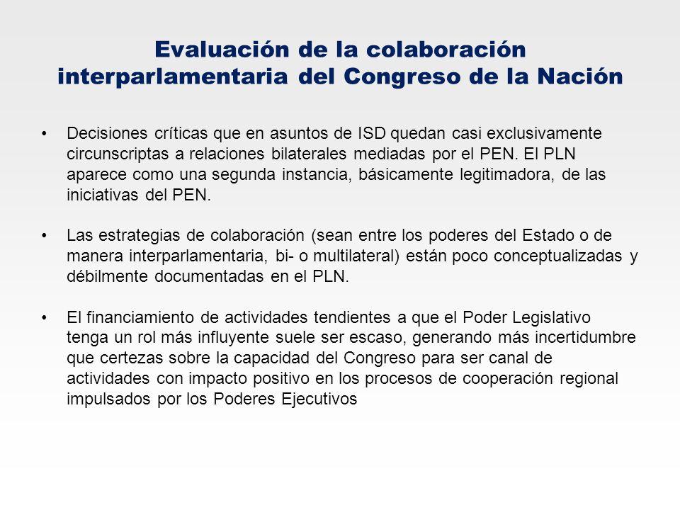 Evaluación de la colaboración interparlamentaria del Congreso de la Nación Decisiones críticas que en asuntos de ISD quedan casi exclusivamente circun