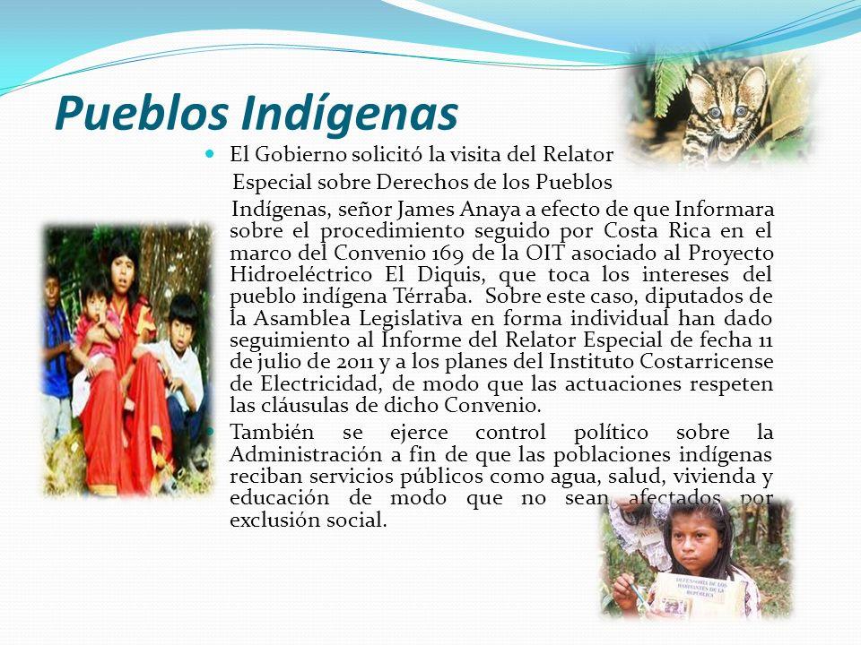 Pueblos Indígenas El Gobierno solicitó la visita del Relator Especial sobre Derechos de los Pueblos Indígenas, señor James Anaya a efecto de que Infor