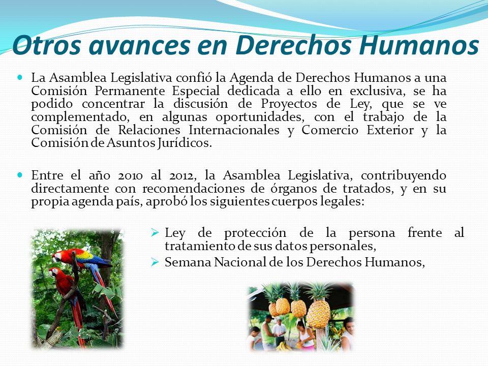 Otros avances en Derechos Humanos La Asamblea Legislativa confió la Agenda de Derechos Humanos a una Comisión Permanente Especial dedicada a ello en e
