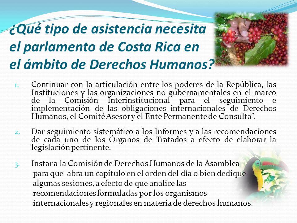 ¿Qué tipo de asistencia necesita el parlamento de Costa Rica en el ámbito de Derechos Humanos? 1. Continuar con la articulación entre los poderes de l