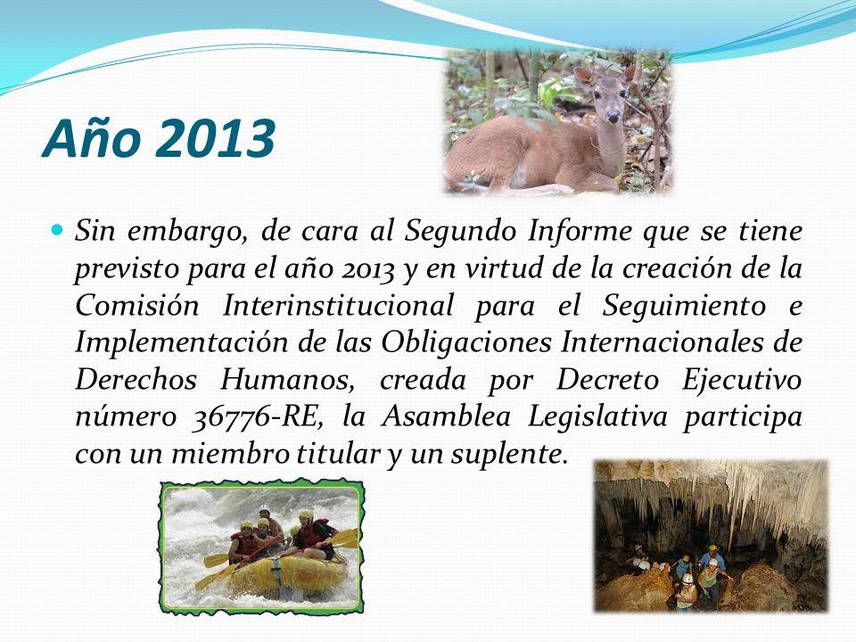 Año 2013 Sin embargo, de cara al Segundo Informe que se tiene previsto para el año 2013 y en virtud de la creación de la Comisión Interinstitucional p