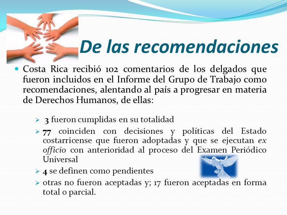 De las recomendaciones Costa Rica recibió 102 comentarios de los delgados que fueron incluidos en el Informe del Grupo de Trabajo como recomendaciones