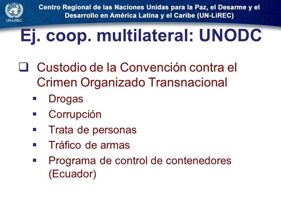 Ej. coop. multilateral: UNODC Custodio de la Convención contra el Crimen Organizado Transnacional Drogas Corrupción Trata de personas Tráfico de armas