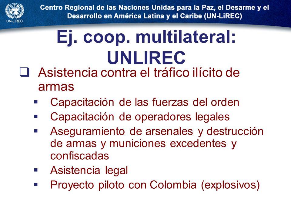 Ej. coop. multilateral: UNLIREC Asistencia contra el tráfico ilícito de armas Capacitación de las fuerzas del orden Capacitación de operadores legales