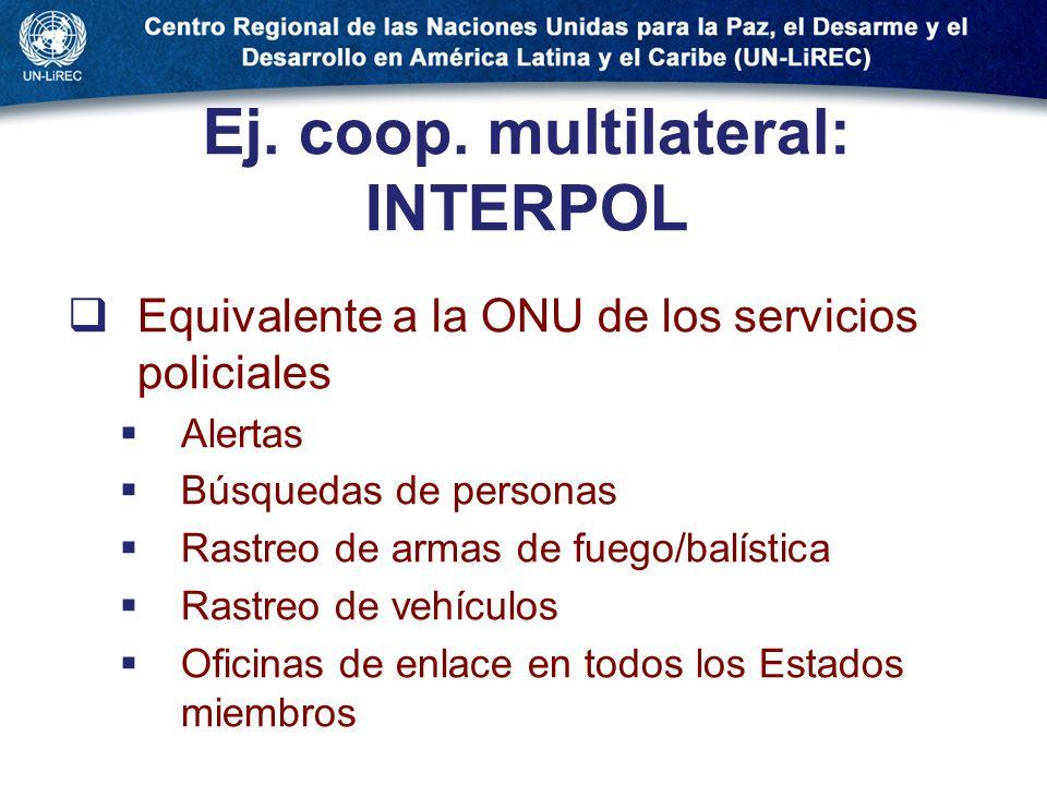 Ej. coop. multilateral: INTERPOL Equivalente a la ONU de los servicios policiales Alertas Búsquedas de personas Rastreo de armas de fuego/balística Ra