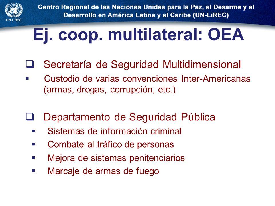 Ej. coop. multilateral: OEA Secretaría de Seguridad Multidimensional Custodio de varias convenciones Inter-Americanas (armas, drogas, corrupción, etc.