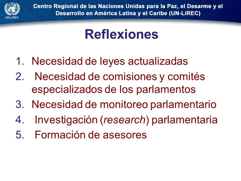 Reflexiones 1.Necesidad de leyes actualizadas 2. Necesidad de comisiones y comités especializados de los parlamentos 3.Necesidad de monitoreo parlamen