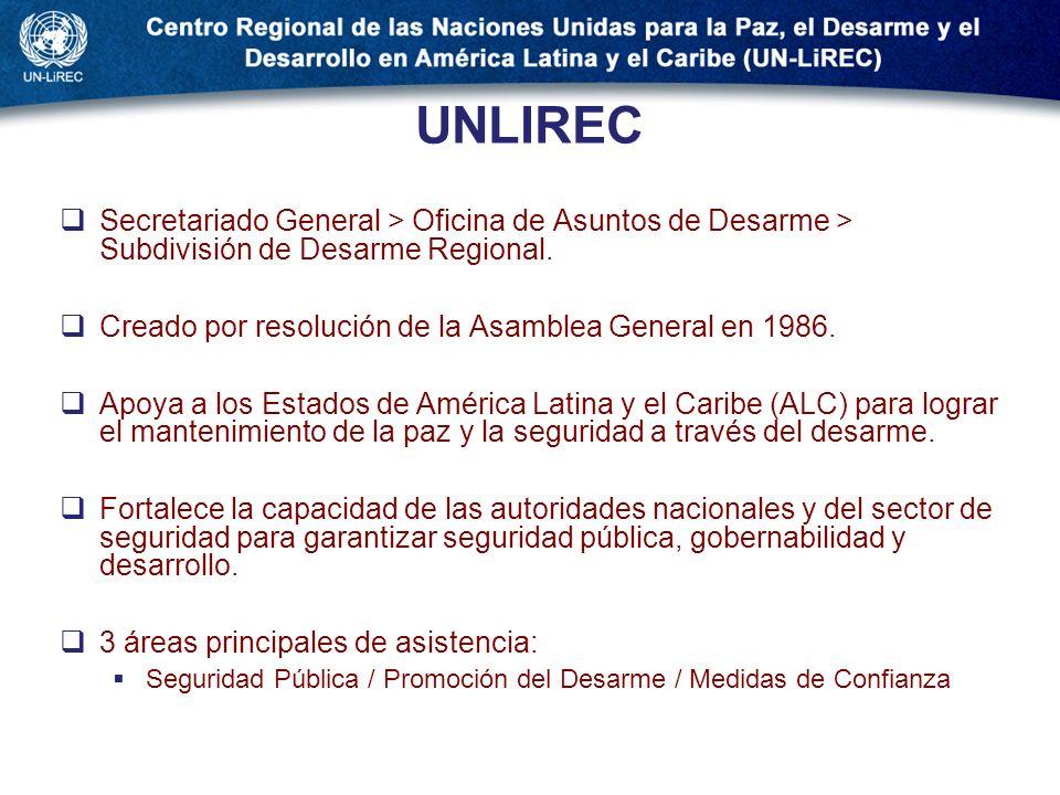UNLIREC Secretariado General > Oficina de Asuntos de Desarme > Subdivisión de Desarme Regional. Creado por resolución de la Asamblea General en 1986.