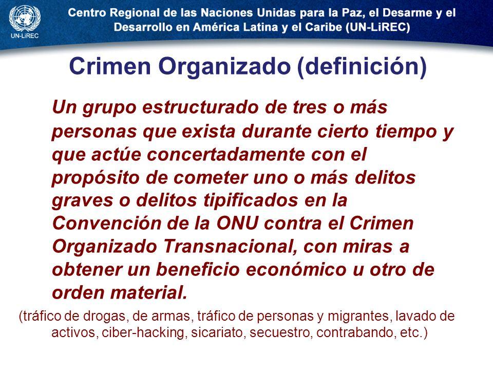 Crimen Organizado (definición) Un grupo estructurado de tres o más personas que exista durante cierto tiempo y que actúe concertadamente con el propós