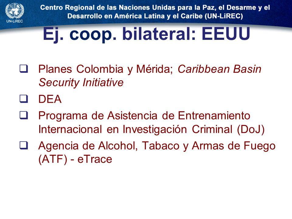 Ej. coop. bilateral: EEUU Planes Colombia y Mérida; Caribbean Basin Security Initiative DEA Programa de Asistencia de Entrenamiento Internacional en I