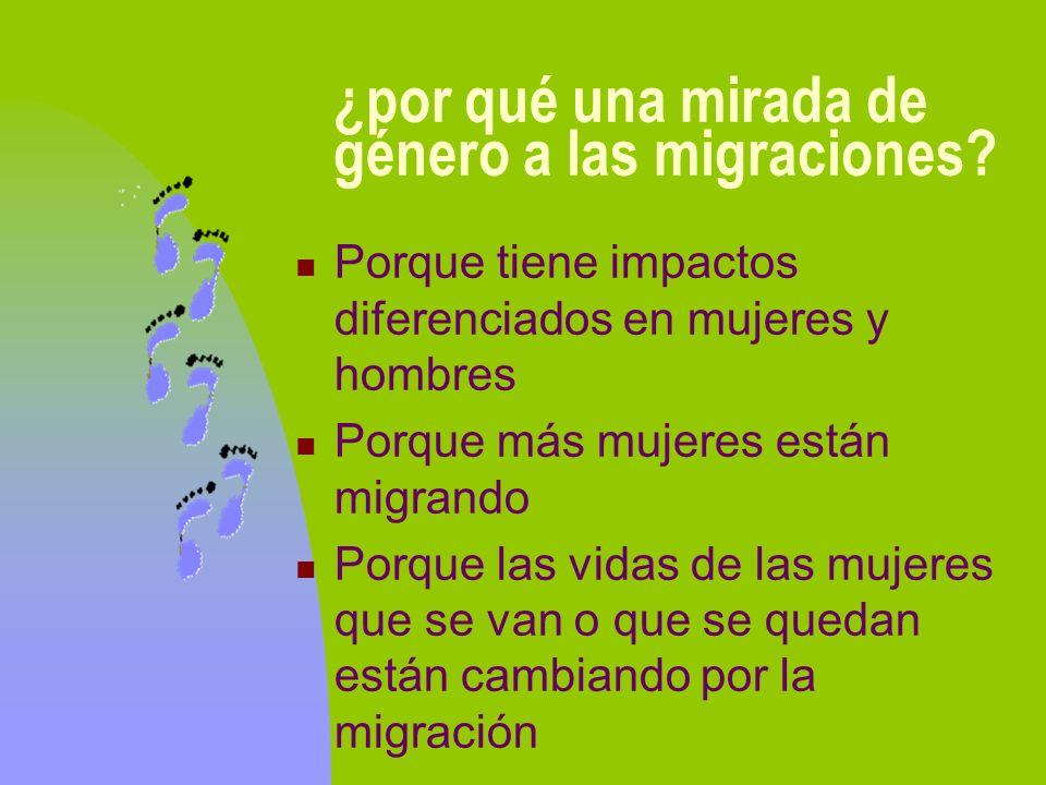 ¿por qué una mirada de género a las migraciones? Porque tiene impactos diferenciados en mujeres y hombres Porque más mujeres están migrando Porque las