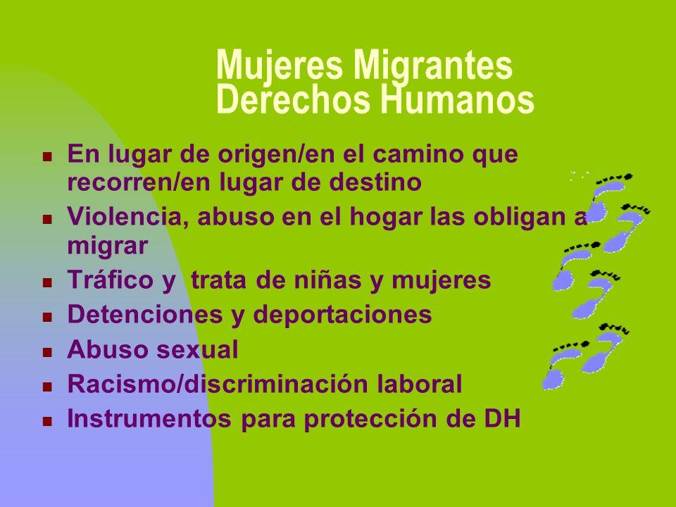 Mujeres Migrantes Derechos Humanos En lugar de origen/en el camino que recorren/en lugar de destino Violencia, abuso en el hogar las obligan a migrar
