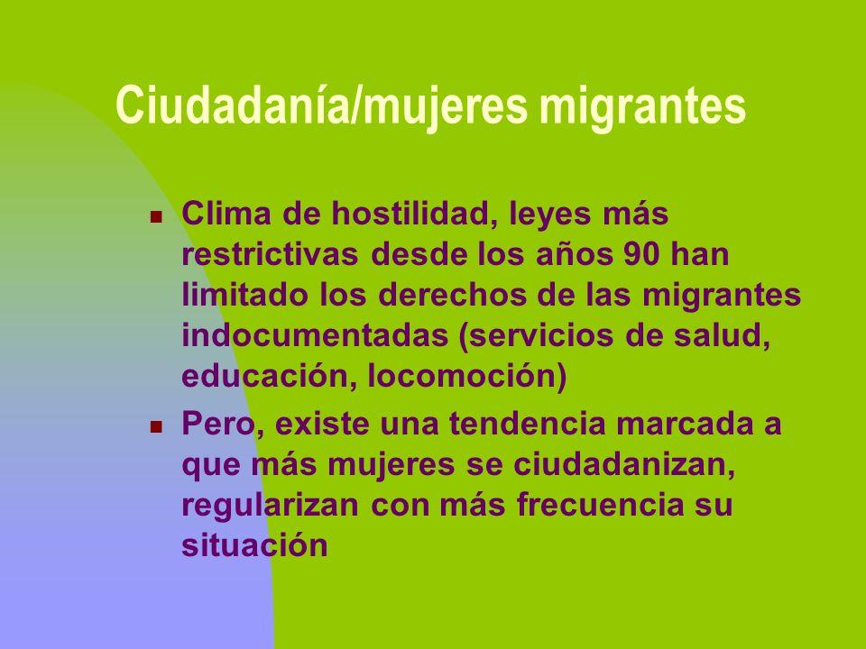 Ciudadanía/mujeres migrantes Clima de hostilidad, leyes más restrictivas desde los años 90 han limitado los derechos de las migrantes indocumentadas (
