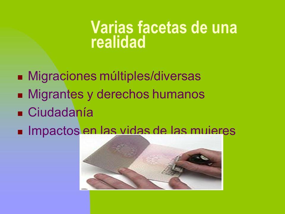 Varias facetas de una realidad Migraciones múltiples/diversas Migrantes y derechos humanos Ciudadanía Impactos en las vidas de las mujeres