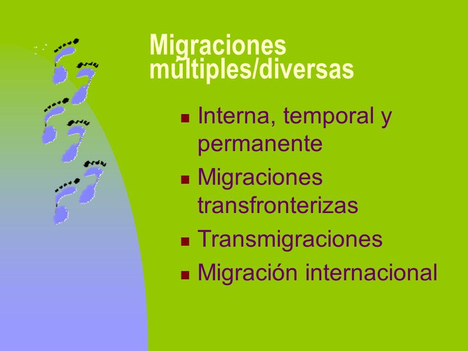 Migraciones múltiples/diversas Interna, temporal y permanente Migraciones transfronterizas Transmigraciones Migración internacional