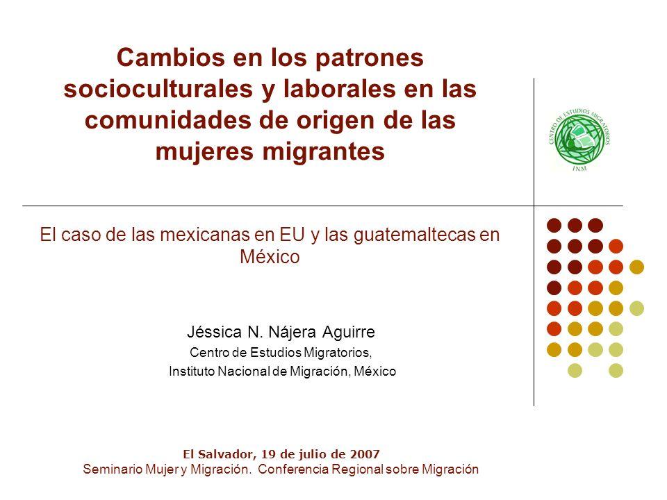 Cambios en los patrones socioculturales y laborales en las comunidades de origen de las mujeres migrantes El caso de las mexicanas en EU y las guatemaltecas en México Jéssica N.