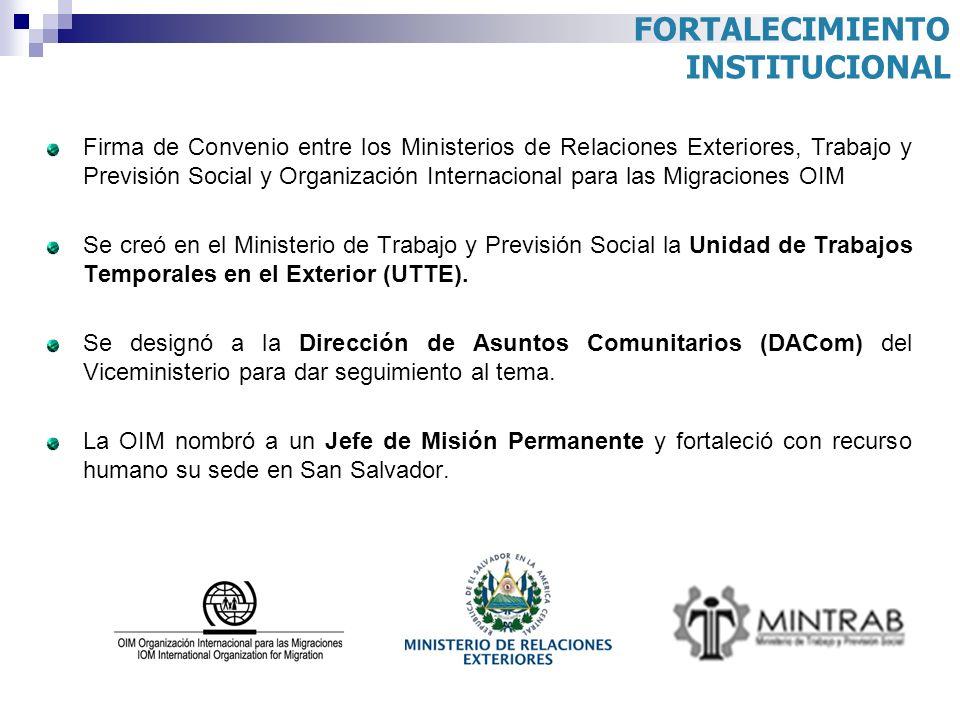 FORTALECIMIENTO INSTITUCIONAL Firma de Convenio entre los Ministerios de Relaciones Exteriores, Trabajo y Previsión Social y Organización Internaciona