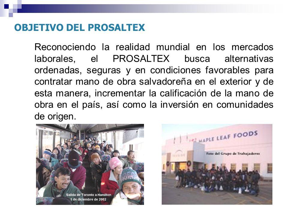 OBJETIVO DEL PROSALTEX Reconociendo la realidad mundial en los mercados laborales, el PROSALTEX busca alternativas ordenadas, seguras y en condiciones