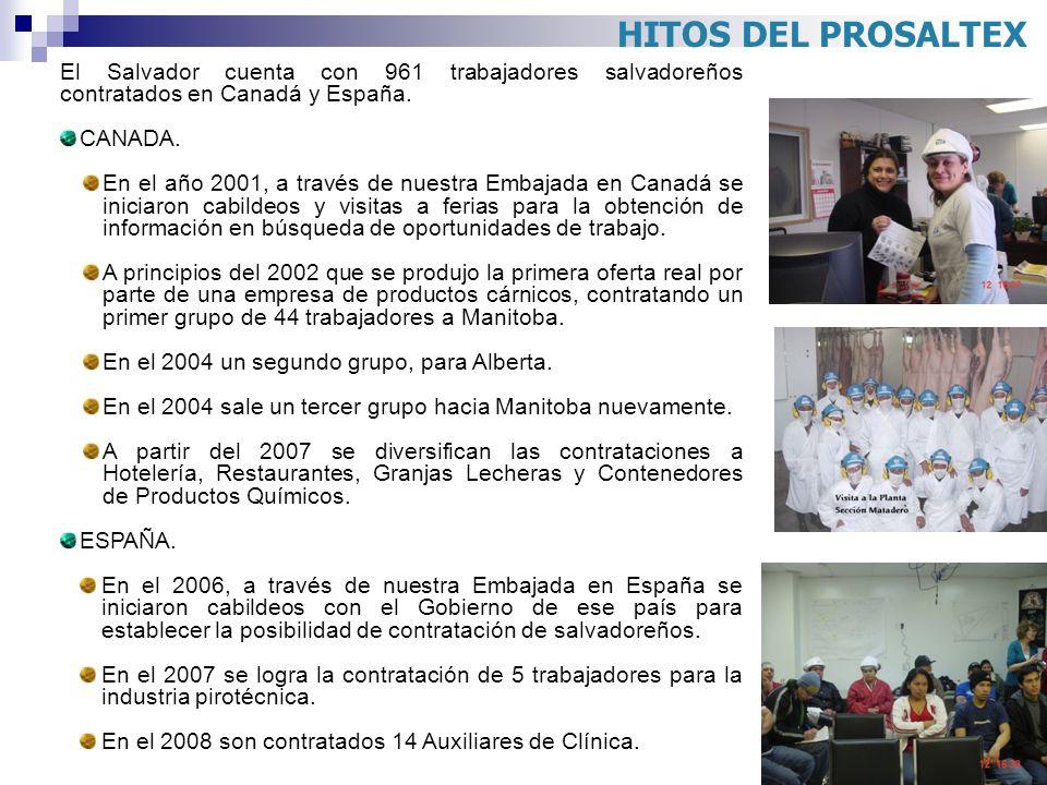 El Salvador cuenta con 961 trabajadores salvadoreños contratados en Canadá y España. CANADA. En el año 2001, a través de nuestra Embajada en Canadá se