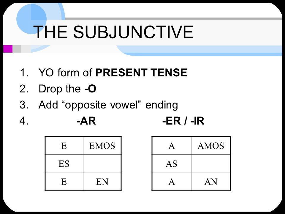 THE SUBJUNCTIVE 1.YO form of PRESENT TENSE 2.Drop the -O 3.Add opposite vowel ending 4. -AR-ER / -IR EEMOS ES EEN AAMOS AS AAN