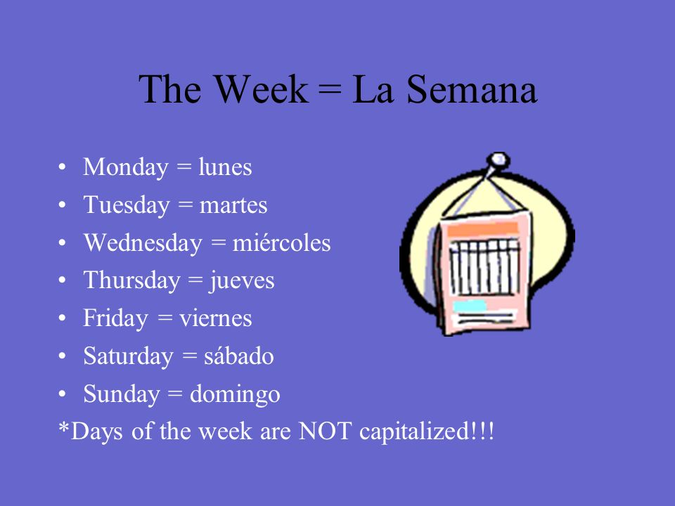 The Week = La Semana Monday = lunes Tuesday = martes Wednesday = miércoles Thursday = jueves Friday = viernes Saturday = sábado Sunday = domingo *Days of the week are NOT capitalized!!!